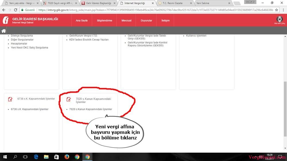 7020 Sayılı vergi Affı için İnternetten Başvuru Nasıl Yapılır (Resimli Anlatım).